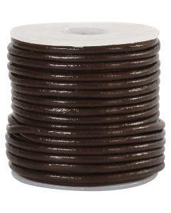 Lædersnor, tykkelse 2 mm, brun, 10 m/ 1 rl.