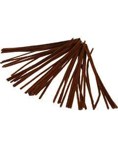 Chenille, L: 30 cm, tykkelse 6 mm, brun, 50 stk./ 1 pk.