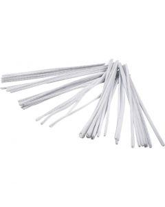 Chenille, L: 30 cm, tykkelse 6 mm, hvid, 50 stk./ 1 pk.