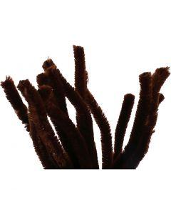 Chenille, L: 30 cm, tykkelse 15 mm, brun, 15 stk./ 1 pk.