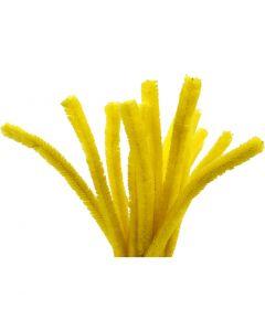 Chenille, L: 30 cm, tykkelse 15 mm, gul, 15 stk./ 1 pk.