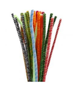 Chenille, stribede, L: 30 cm, tykkelse 6 mm, ass. farver, 30 ass./ 1 pk.