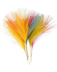 Kunstige fjer, L: 15 cm, B: 8 cm, ass. farver, 10 stk./ 1 pk.