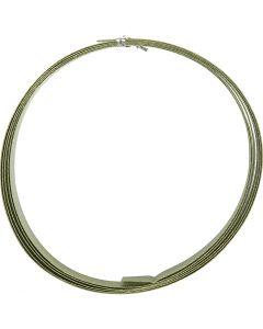 Bonzaitråd, flad, B: 15 mm, tykkelse 0,5 mm, grøn, 2 m/ 1 rl.