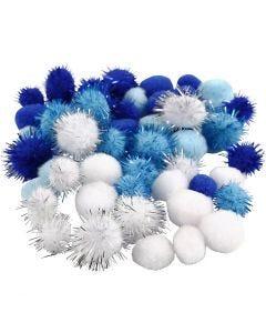 Pomponer, diam. 15+20 mm, lyseblå, mørk blå, hvid, 48 ass./ 1 pk.