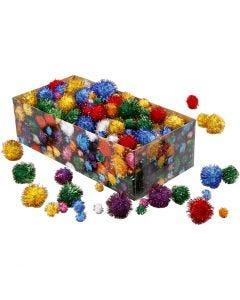Pomponer, diam. 15-40 mm, glitter, stærke farver, 400 g/ 1 pk.