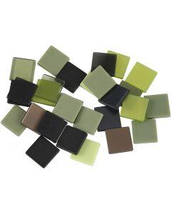Minimosaik, str. 10x10 mm, grøn glitter, 25 g/ 1 pk.