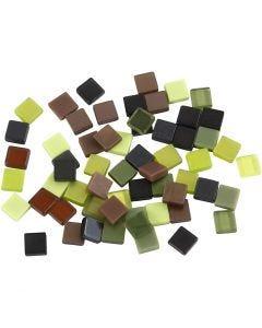 Minimosaik, str. 5x5 mm, grøn glitter, 25 g/ 1 pk.