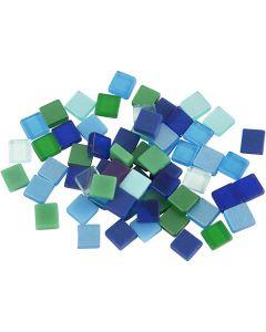 Minimosaik, str. 5x5 mm, blå/grøn harmoni, 25 g/ 1 pk.