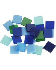 Minimosaik, str. 10x10 mm, blå/grøn harmoni, 25 g/ 1 pk.