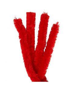 Chenille, L: 40 cm, tykkelse 30 mm, rød, 4 stk./ 1 pk.