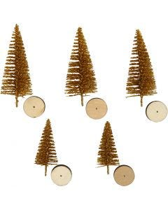 Grantræer, H: 40+60 mm, guld, 5 stk./ 1 pk.