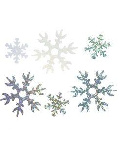 Pailletter, diam. 25+45 mm, lyseblå, sølv, hvid, 250 g/ 1 pk.