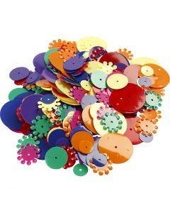 Pailletter, runde, str. 10-25 mm, ass. farver, 35 g/ 1 pk.
