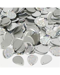 Pailletter, dråbe, str. 14x19 mm, sølv, 50 g/ 1 pk.