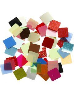 Pailletmosaik, str. 10x10 mm, ass. farver, 10 g/ 1 pk.