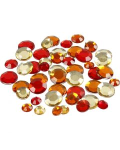 Rhinsten, runde, str. 6+9+12 mm, rød harmoni, 360 stk./ 1 pk.