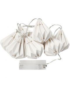 LED lyskæde med lampeskærme , H: 80 mm, L: 100 cm, diam. 65 mm, hvid, 1 stk.