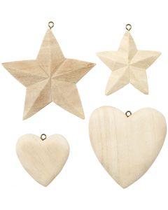 Hjerter og stjerner, 4 stk./ 1 pk.