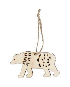 Ophæng, isbjørn, H: 4,5 cm, dybde 0,5 cm, B: 7,5 cm, 4 stk./ 1 pk.