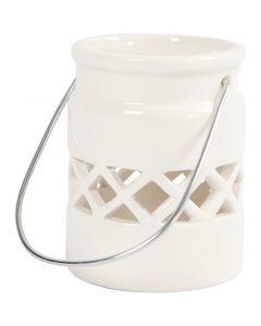 Lanterne, H: 8 cm, diam. 6,2 cm, hvid, 2 stk./ 1 pk.