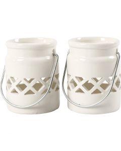 Lanterne, H: 8 cm, diam. 6,2 cm, 2. sortering, hvid, 6 stk./ 1 ks.