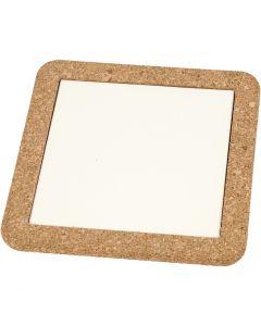 Bordskåner med korkramme, str. 15,5x15,5x1 cm, hvid, 2 stk./ 1 pk.