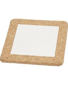 Bordskåner med korkramme, str. 15,5x15,5x1 cm, hvid, 10 stk./ 1 ks.