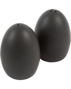 Salt- og pebersæt, H: 7 cm, mat, sort, 6 sæt/ 1 ks.
