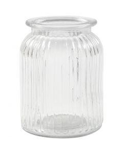 Glaskrukke, H: 14,5 cm, diam. 11 cm, hulstr. 7 cm, 6 stk./ 1 ks.