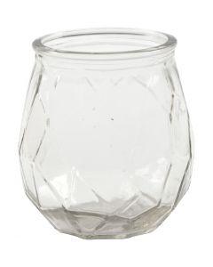 Lysglas, H: 10,5 cm, diam. 9,5 cm, hulstr. 7,3 cm, 6 stk./ 1 ks.