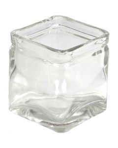 Firkantet lysglas, H: 5,5 cm, str. 5,5x5,5  cm, 12 stk./ 1 ks.