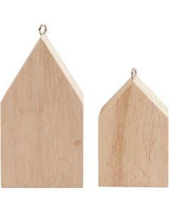 Huse med ophæng, H: 4,5+6,5 cm, 30 stk./ 1 pk.