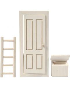 Dør, postkasse og stige, str. 8x18 cm, 1 sæt