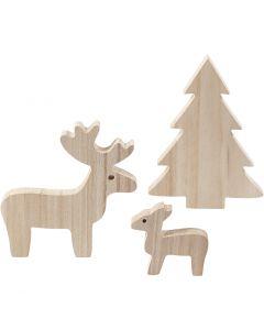 Kronhjort, kalv og grantræ, H: 6+12+15 cm, 1 sæt