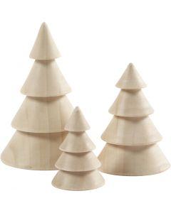 Juletræer, H: 5+7,5+10 cm, diam. 3,5+5,4+6,7 cm, 3 stk./ 1 pk.