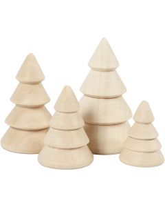 Juletræer, H: 3,3+4,3+5,3+6,3 cm, diam. 2,3+3+3,2+4 cm, 4 stk./ 1 pk.