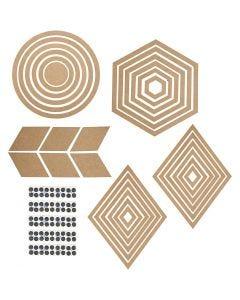 Vægdekorationer, H: 5,5-29,5 cm, Indhold kan variere, 10 sæt/ 1 pk.