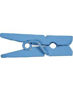 Minitøjklemme, L: 25 mm, B: 3 mm, blå, 36 stk./ 1 pk.