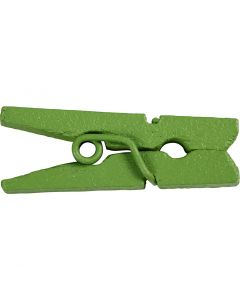 Minitøjklemme, L: 25 mm, B: 3 mm, grøn, 36 stk./ 1 pk.