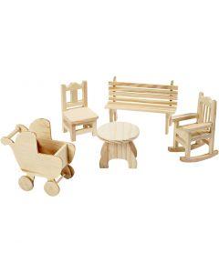 Minimøbler, stol, bænk, gyngestol, bord, barnevogn, H: 5,8-10,5 cm, 50 stk./ 1 pk.