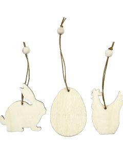 Træophæng, hare, æg, høne, str. 6 cm, tykkelse 3 mm, 9 stk./ 1 pk.