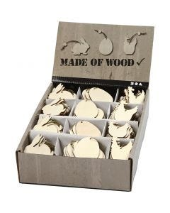 Træophæng, hare, æg, høne, str. 6 cm, tykkelse 3 mm, 200 stk./ 1 pk.