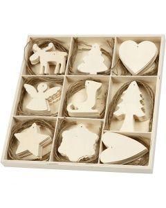 Træophæng, jul, str. 7-8 cm, 72 stk./ 1 pk.