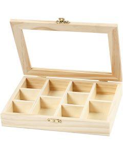 Æske med glaslåg, str. 15,5x20,5x3,5 cm, 1 stk.
