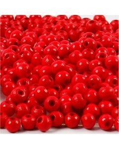 Træperler, diam. 5 mm, hulstr. 1,5 mm, rød, 6 g/ 1 pk.