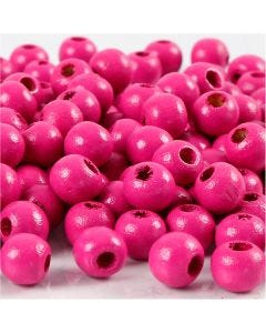 Træperler, diam. 8 mm, hulstr. 2 mm, pink, 15 g/ 1 pk., 80 stk.