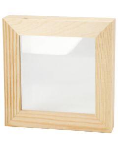 3D ramme med glas, dybde 2,5 cm, str. 12,3x12,3 cm, 1 stk.
