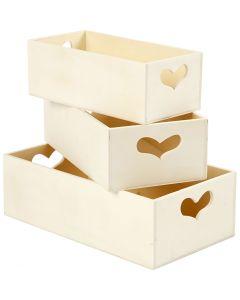 Kasser, H: 6,3+5,8+5,5 cm, L: 20,5+18+15,8 cm, B: 11,5+9,8+7,8 cm, 3 stk./ 1 sæt