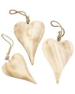 Hjerte, H: 9,5+15 cm, Indhold kan variere, 6 stk./ 1 pk.